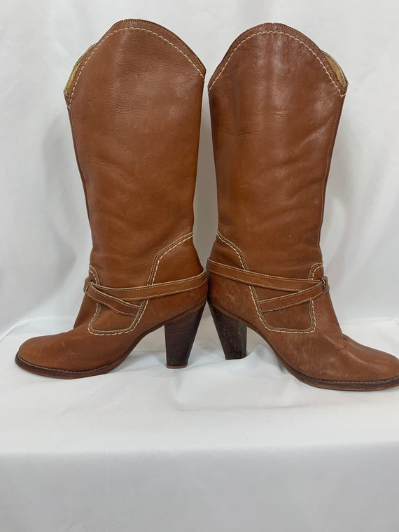 Vintage Zodiac Leather Western Boots size 9 - image 4