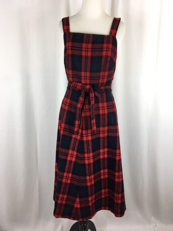 Vintage Wool Plaid Wrap Dress Pinafore