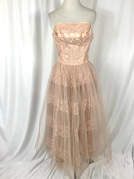 Vintage 50's Pink Tulle Strapless Gown