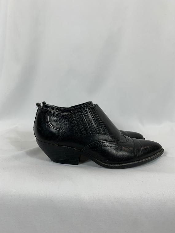 Vintage Black Leather Ankle Boots size 6.5