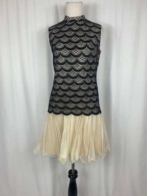 Vintage Black Lace and Cream Chiffon Dress