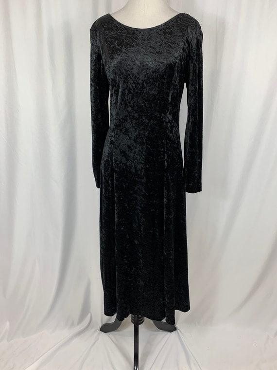 Vintage Long Sleeve Witchy Black Velvet Dress
