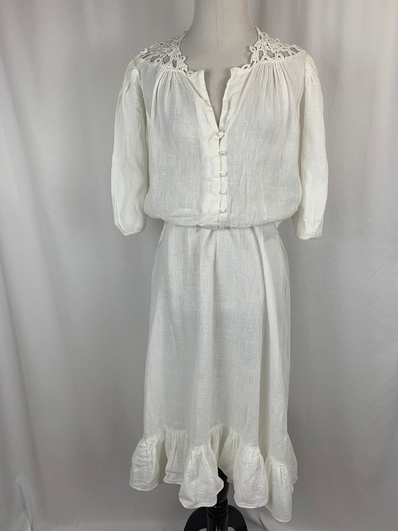 Vintage White Indian Cotton Dress - image 1