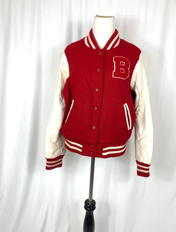 Vintage Reversible Red Letterman Jacket