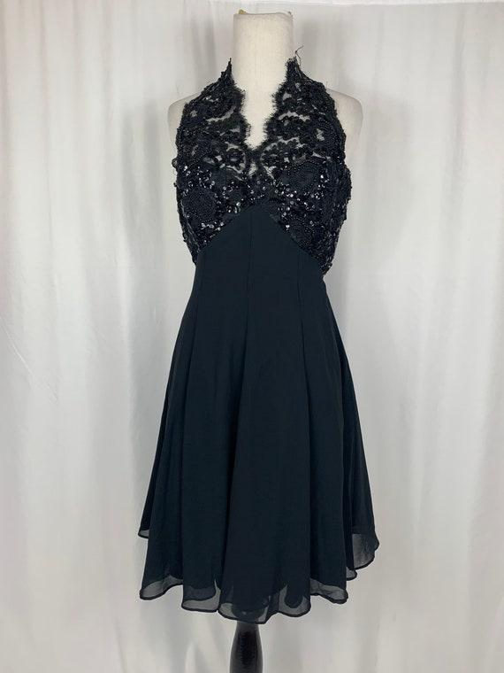 Vintage Black Lace Chiffon Halter Dress