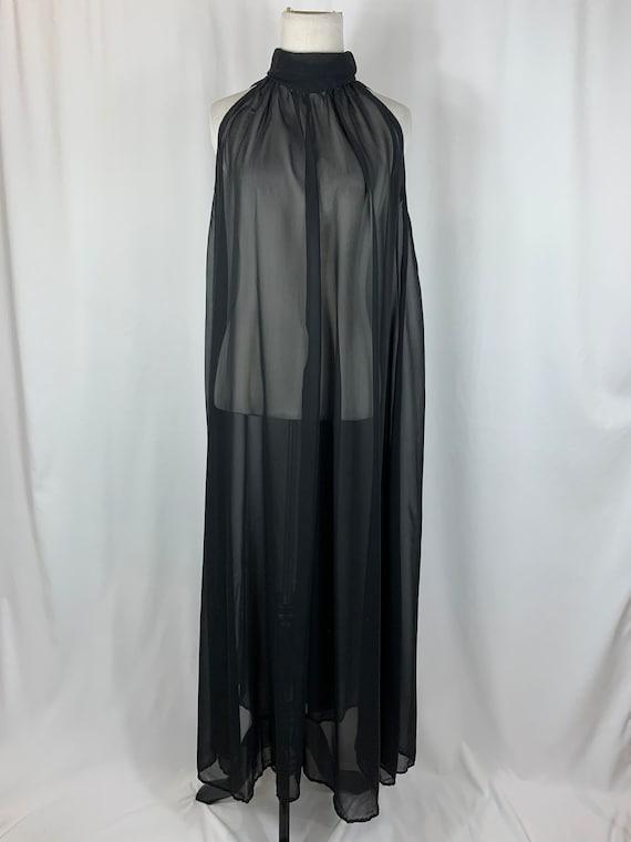 Vintage Sheer Black Silk Maxi Nightgown