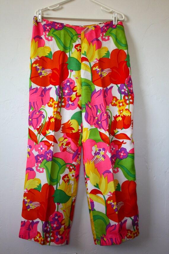 Vintage Silk Psychedelic Floral Print Pants