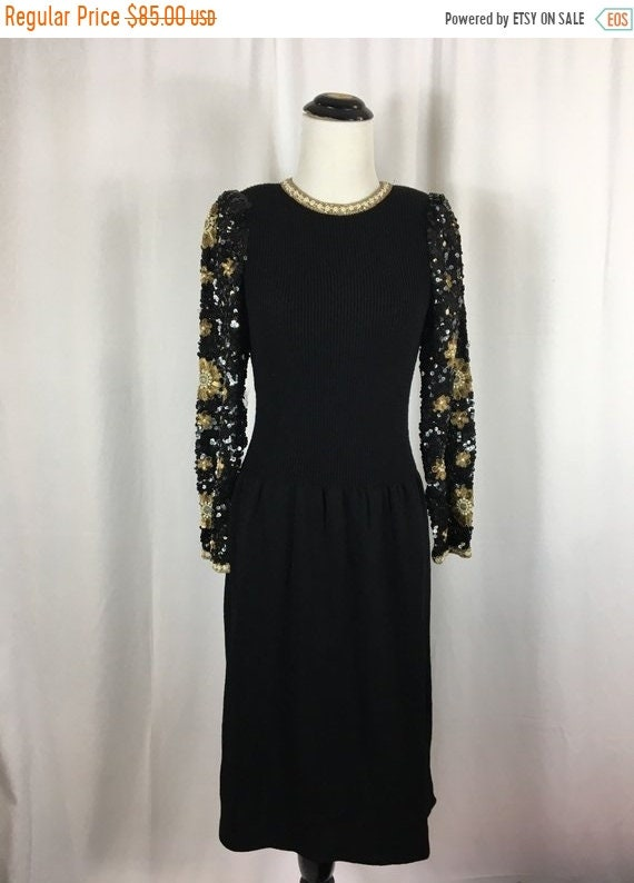 Sale Vintage Black Knit Dress With Sequined Cuff And Sleeves Etsy