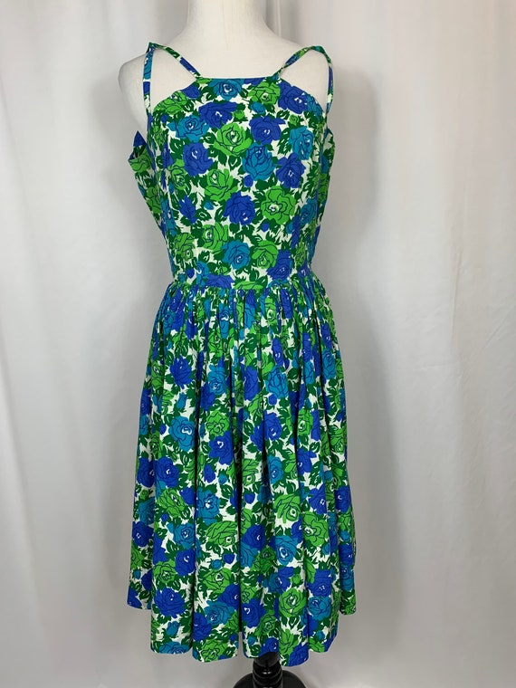 Vintage Blue And Green Floral Fit and Flare Sundre
