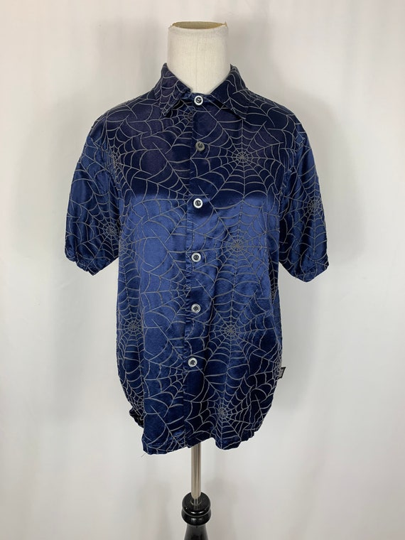 Vintage 90's Blue Satin Spiderweb Blouse