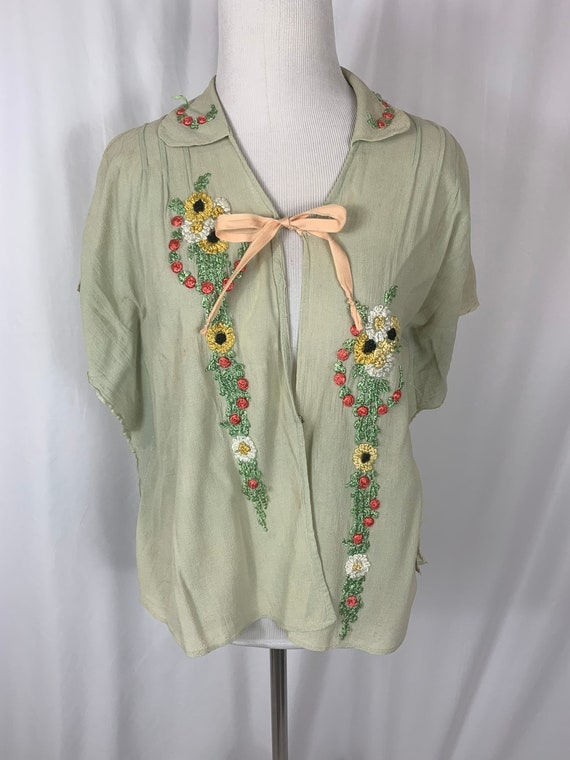 Vintage 40's  Floral Embroidered Blouse