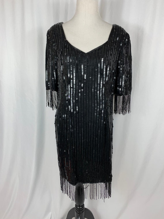 Vintage Black Silk Beaded Sequin Dress