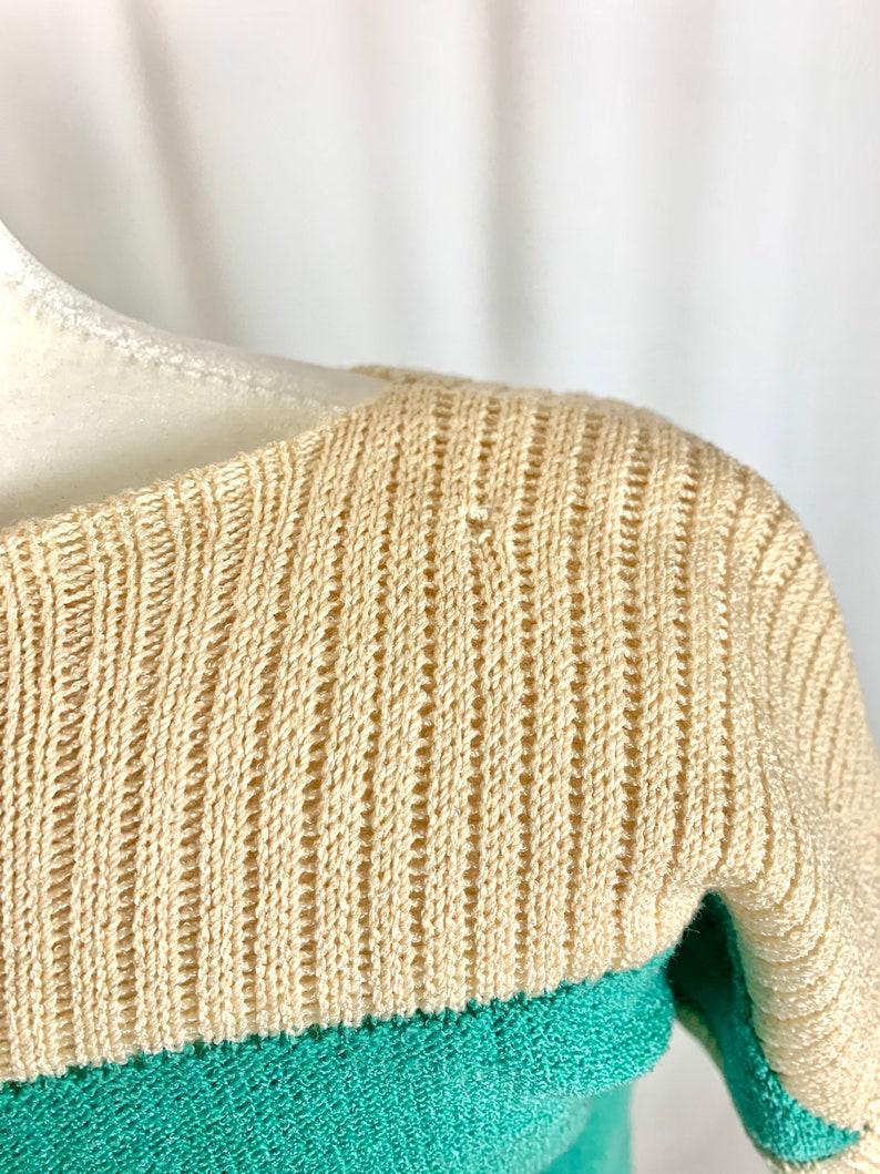 Vintage 80\u2019s Mint and Cream Knit Sweater Dress
