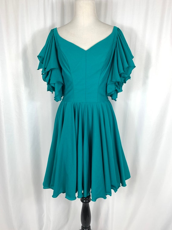 Vintage Teal Fit and Flare Ruffle Sleeve Dress