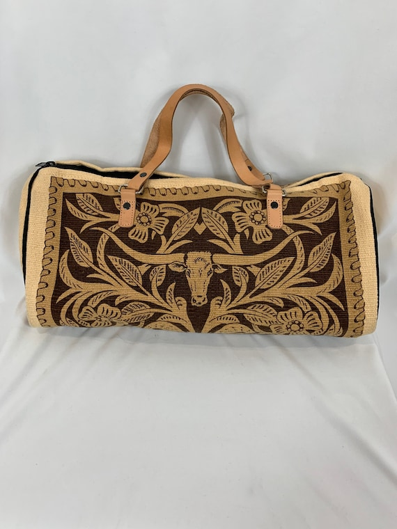 Vintage Western Steer Cotton Duffle Handbag