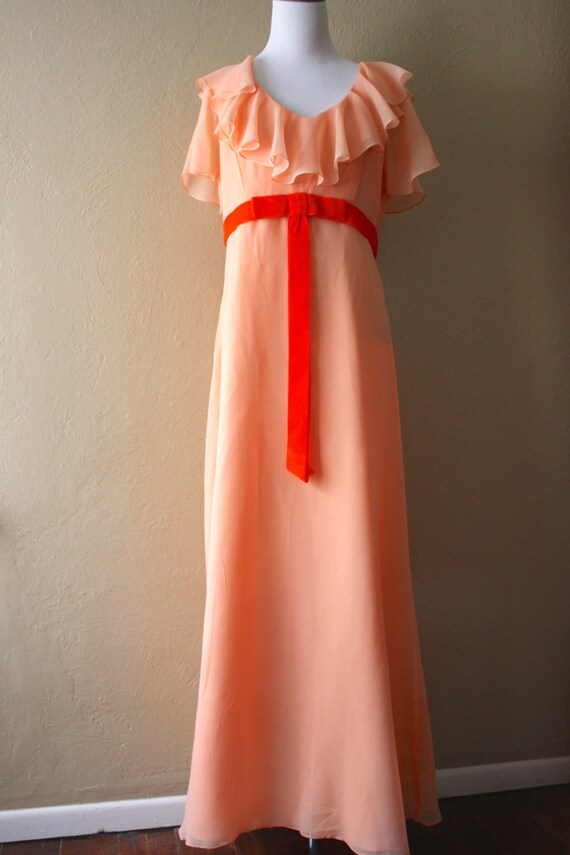 Vintage Peach Chiffon Ruffle Maxi Dress