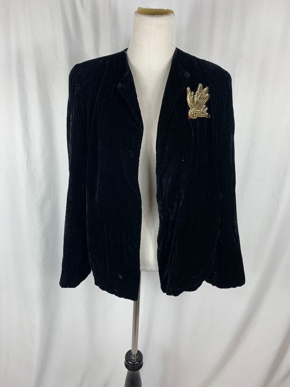 Vintage Black Silk Velvet Opera Jacket