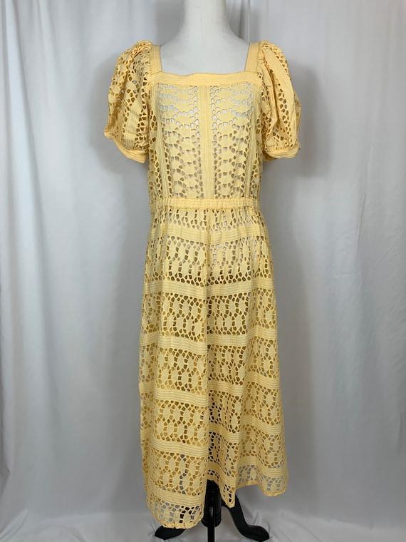 Vintage Yellow Eyelet Maxi Dress