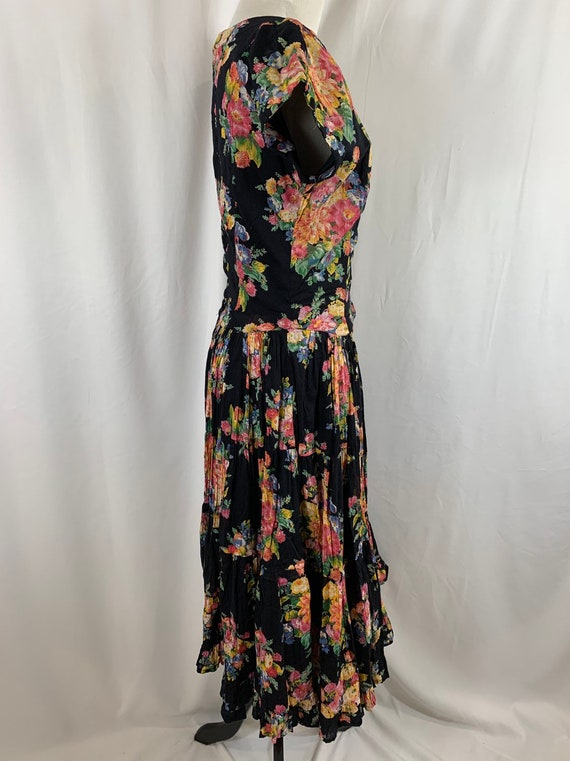 Vintage 90's Indian Cotton Floral Gauze Dress - image 3