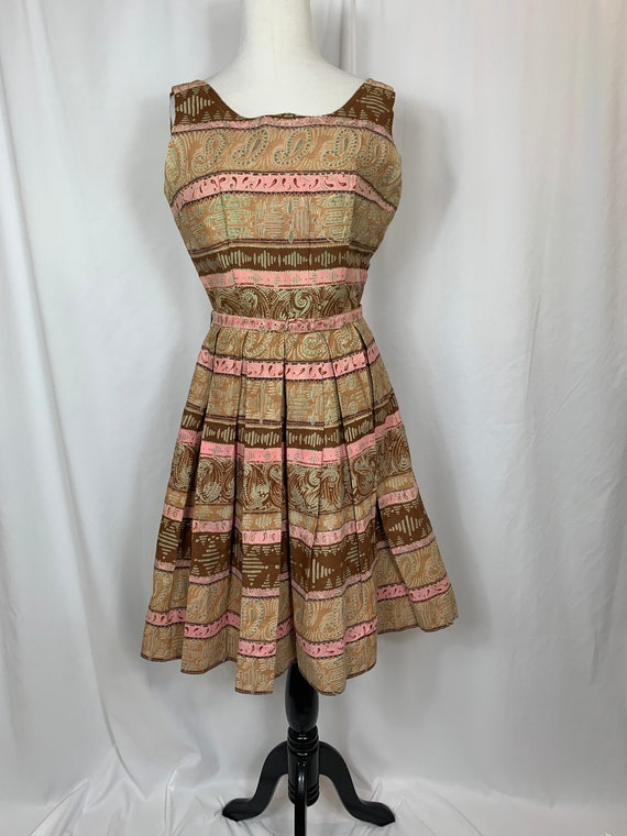 Vintage Pink And Brown Fit and Flare Sundress.