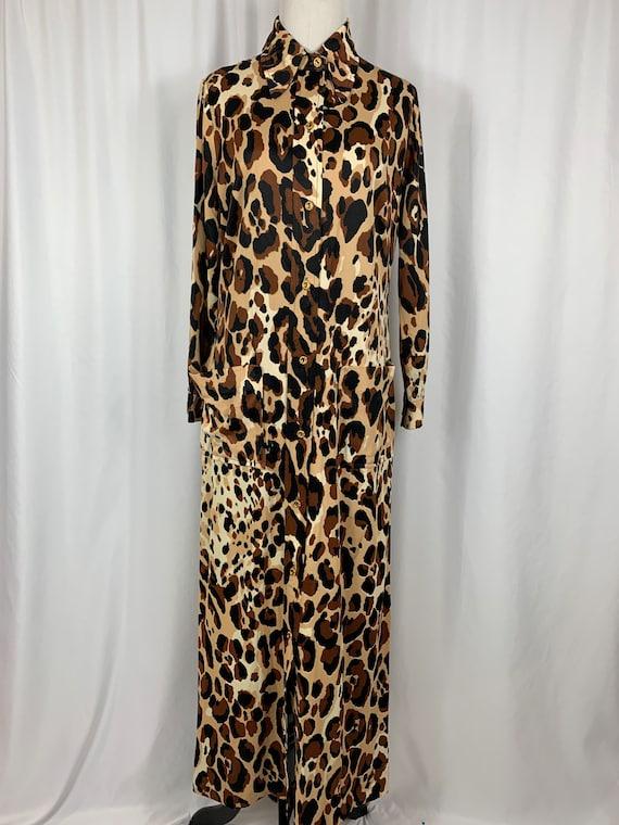 Vintage Long Sleeve Leopard Print Dress