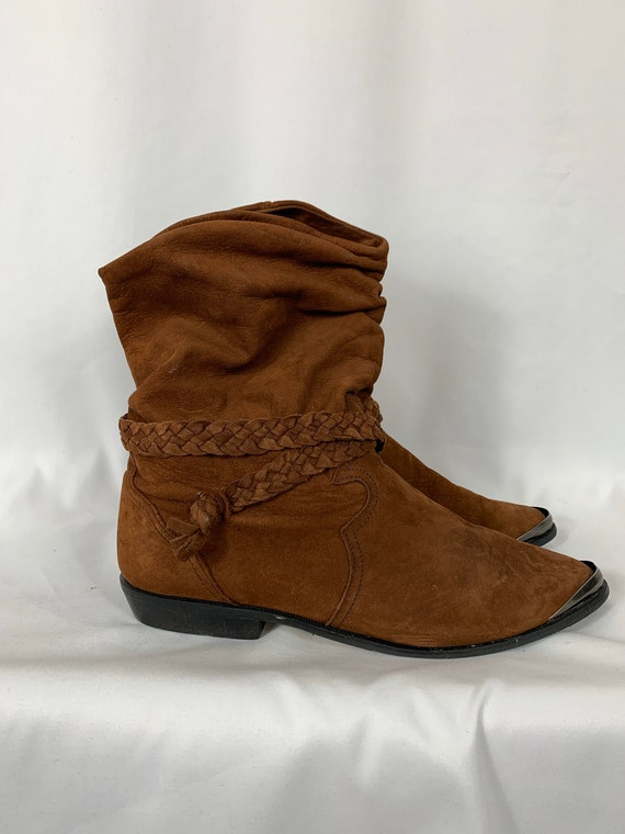 Vintage Chocolate Suede Cowboy Harness Ankle Boots