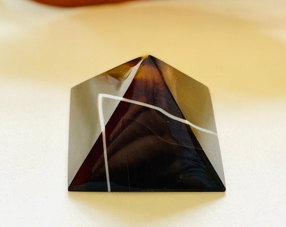Black Brown agate pyramid, agate paperweight, paperweight, office decor, home decor, black agate decor, agate decor