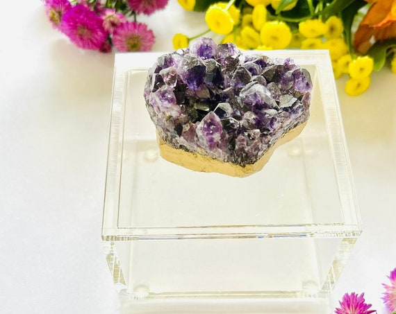 Acrylic box with amethyst,  Acrylic jewelry box, Ring box, Amethyst box, Gemstone Box, wedding gifts, Jewelry box, keepsake box, clear box
