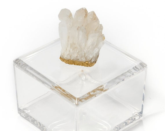 Small acrylic box w/ himalayan crystal, Acrylic box, wedding box, crystal box, geode box, ring box