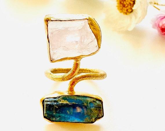 Gemstone rose quartz and kyanite Adjustable  Ring, Boho ring jewelry, rose quartz ring, gemstone ring, adjustable rings, kyanite ring