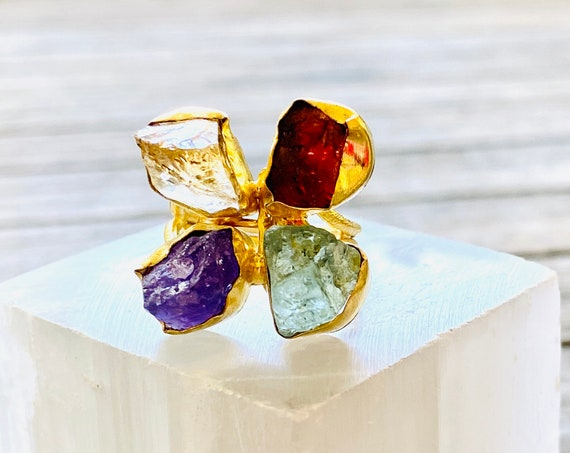 Rough Raw Gemstone Adjustable  Ring, gemstone ring, birthstone ring, boho ring, adjustable ring, amethyst ring, Raw Gemstone Ring, Ring