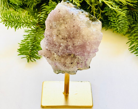 Amethyst Lollipop on Gold metal Stand, amethyst on stand, stand alone amethyst, amethyst, birthstone, healing crystals