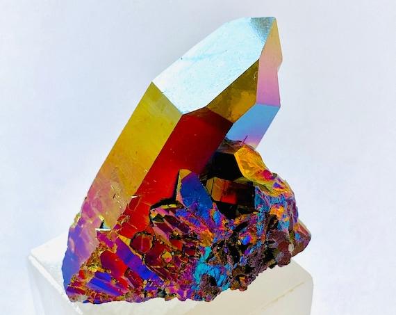 Rainbow Titanium Paperweight, Office Decor, Crystal home decor, Reiki healing crystals, agate, Paperweights, Crystals, Rainbow, Paperweight