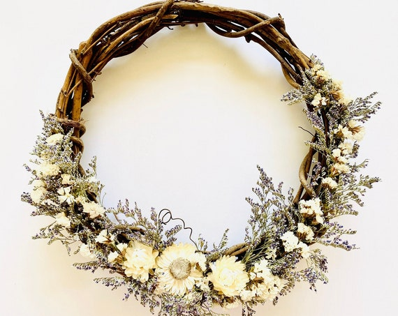 """Botanical wreath with dried flowers and herbs,dried flower wreath, flower wreath, dried flowers, 10"""" wreath, Fall Wreath,Straw flower wreath"""