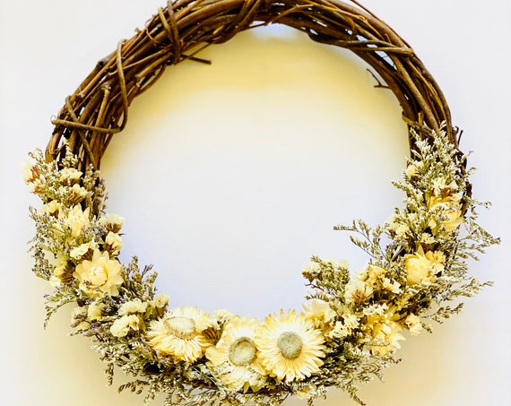 "Botanical wreath w/ dried flowers and herbs, dried flower wreath, flower wreath, dried flowers, 10"" wreath, Fall Wreath, straw flower wreath"