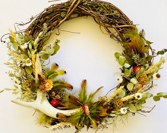 Botanical wreath w/ dried flowers and herb, dried flower wreath, flower wreath, dried flowers, front door wreath, Fall Wreath, Antler wreath