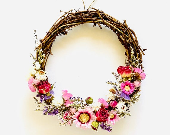 Botanical wreath w/ dried flowers and herbs, dried flower wreath, flower wreath, dried flowers, wreath