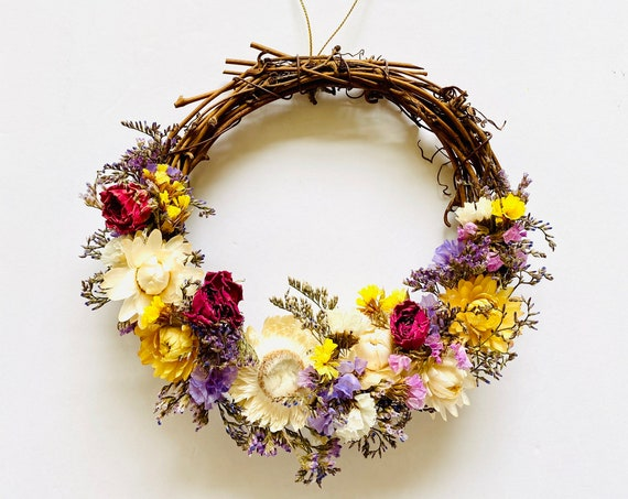 Botanical wreath w/ dried flowers and herbs, dried flower wreath, flower wreath, dried flowers, wreath, straw flower wreath, wildflowers