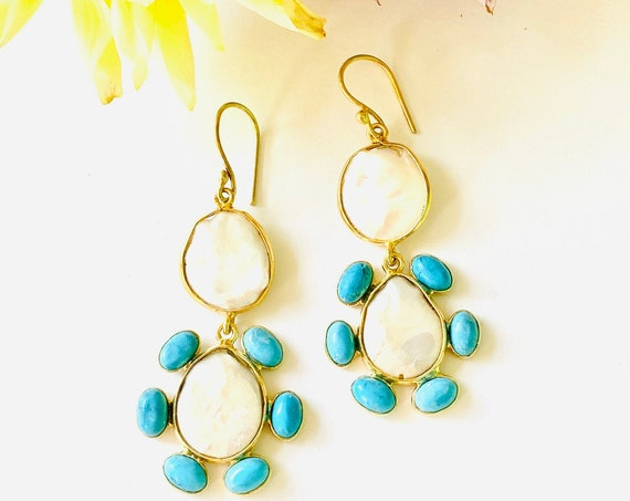 Pearl and turquoise Earrings, Pearl Earrings, turquoise Earrings, Unique Earrings, Gemstone Earrings, Bridal earrings
