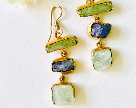 Multi Gemstone Earrings, Crystal Earrings, kyanite, aquamarine, lolite Crystal, kyanite Jewelry, Birthstone Jewelry, dangle Earrings