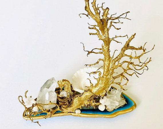 Sea Barnacle Gemstone Sea Garden Object, mermaid cake topper, seascapes, mermaid theme birthday decor, seashells,