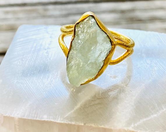 Rough Raw Uncut Gemstone Adjustable Ring, gemstone ring, birthstone ring, boho ring, adjustable ring, aquamarine ring, boho ring, ring