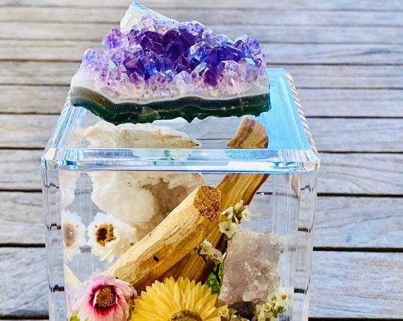 Acrylic Box with crystal and sage bundles, crystal box, Sage bundle, Clear Box, palo santo bundle, wellness gift set box, Crystal gift set