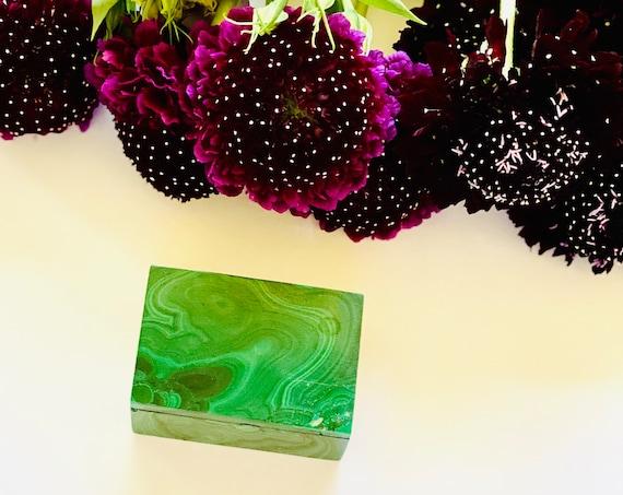 Small malachite pill box, malachite box, ring box, wedding ring box, pill box, OOAK, engagement ring box, stone box, gemstone box