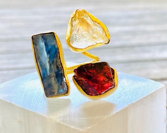 Multi gemstone Ring, gemstone ring, birthstone ring, boho ring, adjustable ring, crystal quartz ring, boho ring, Goddess ring, kyanite ring