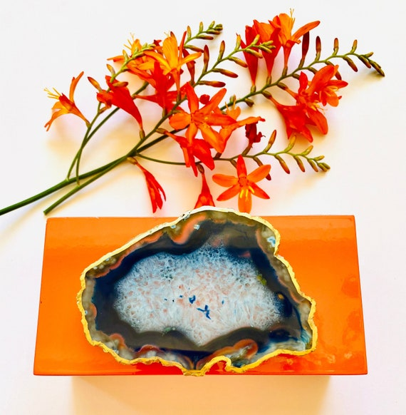 Medium Orange Lacquer Box with Pink Agate, Agate box, Jewelry box, Pink agate, Bridal gift, Watch box, ring Box