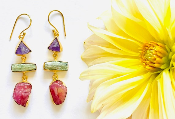 Multi Gemstone Earrings, citrine earrings, Crystal Earrings, Tourmaline Crystal, OOAK, kyanite Jewelry, Birthstone Jewelry, dangle Earrings