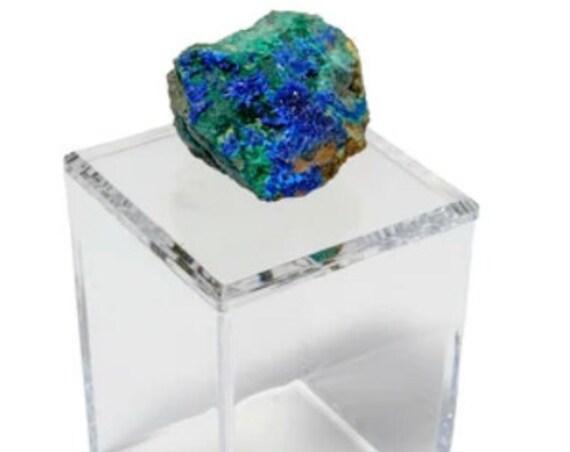 Tall Acrylic Box with Azurite, Amethyst box, azurite, Clear Box, Barware box, Bathroom Decor box, Blue Crystal