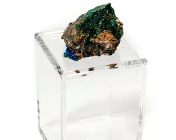 Tall Acrylic Box with malachite, Amethyst box, malachite, Clear Box, Barware box, Bathroom Decor box, green blue Crystal
