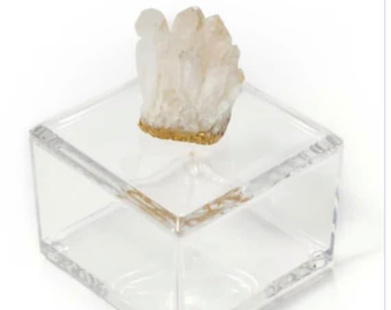 Small Acrylic Box w/ quartz Crystal with Gold bottom, Crystal box, Clear box, Ring Box, quartz Crystal box